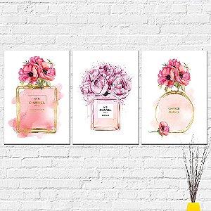 Kit Placas Decorativas Decoração Perfume Channel