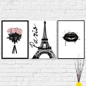 Kit Placas Decorativas Decoração Flores Paris Boca