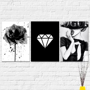 Kit Placas Decorativas Decoração Flor Diamante Vogue