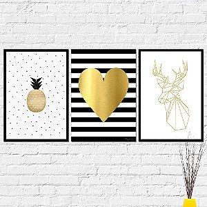 Kit Placas Decorativas Decoração Abacaxi Coração Alce