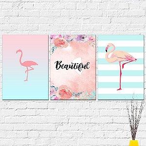 Kit Placas Decorativas Decoração Flamingo Beautiful