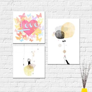 Kit Placas Decorativas Decoração Love Menina Balão