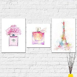 Kit Placas Decorativas Decoração Perfume Paris