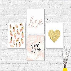 Kit Placas Decorativas Decoração Love Coração