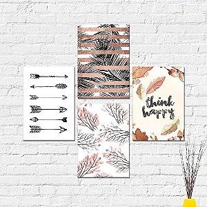 Kit Placas Decorativas Decoração Folhas Frase