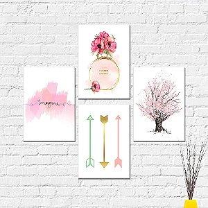 Kit Placas Decorativas Decoração Árvore Perfume Channel