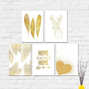 Kit Placas Decorativas Decoração Dourado
