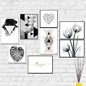 Kit Placas Decorativas Decoração Preto e Branco