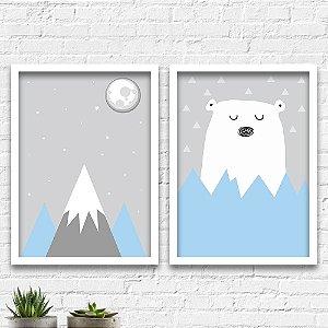 Kit Quadros Decorativos Decoração Infantil Urso Montanha