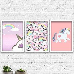 Kit Quadros Decorativos Decoração Infantil Unicórnios