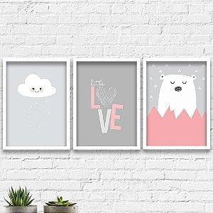 Kit Quadros Decorativos Decoração Infantil Urso Nuvem Love