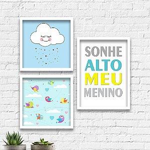 Kit Quadros Decorativos Decoração Infantil Sonhe Alto Menino Nuvem