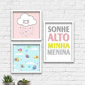 Kit Quadros Decorativos Decoração Infantil Sonhe Alto Menina Nuvem