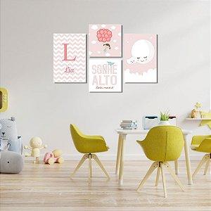 Kit Quadros Decorativos Decoração Infantil Sonhe Alto Menina