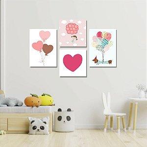 Kit Quadros Decorativos Decoração Infantil Coração Balão Cachorro