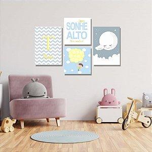 Kit Quadros Decorativos Decoração Infantil Sonhe Alto Menino