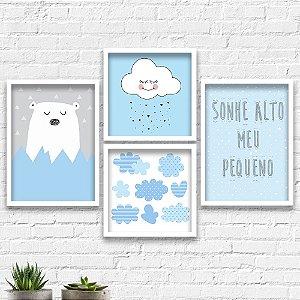 Kit Quadros Decorativos Decoração Infantil Urso Nuvem Sonhe Alto