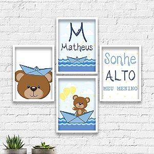 Kit Quadros Decorativos Decoração Infantil Urso Marinheiro