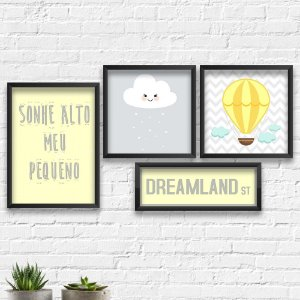 Kit Quadros Decorativos Decoração Infantil Dreamland Nuvem Balão