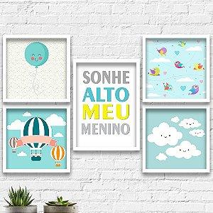 Kit Quadros Decorativos Decoração Infantil Sonhe Alto Balão