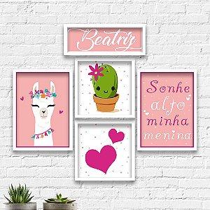 Kit Quadros Decorativos Decoração Infantil Lhama Cactos Coração