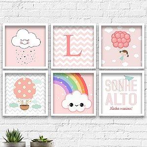 Kit Quadros Decorativos Decoração Infantil Menina Balão Nuvem