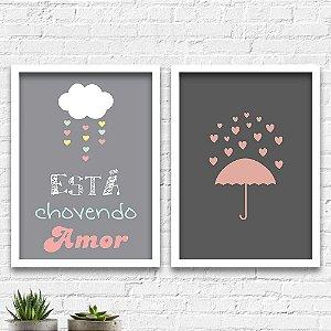 Kit Quadros Decorativos Decoração Chuva de Amor