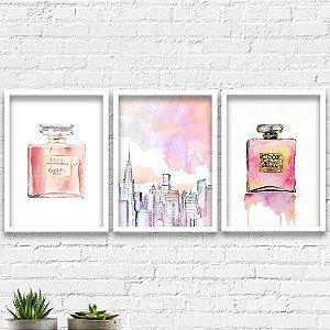 Kit Quadros Decorativos Decoração Nova York Perfume Channel