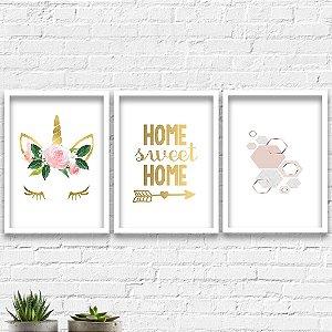 Kit Quadros Decorativos Decoração Unicórnio Home Sweet Home