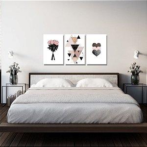 Kit Quadros Decorativos Decoração Flores Abstrato Coração Rosa