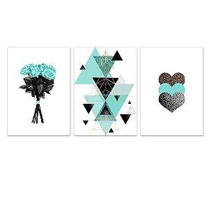 Kit Quadros Decorativos Decoração Flores Abstrato Coração Turquesa