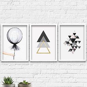 Kit Quadros Decorativos Decoração Balão Abstrato