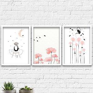 Kit Quadros Decorativos Decoração Flores Menina