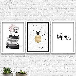 Kit Quadros Decorativos Decoração Livros Abacaxi Happy