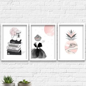 Kit Quadros Decorativos Decoração Livros Menina Abacaxi