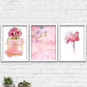 Kit Quadros Decorativos Decoração Perfume Channel Flamingo