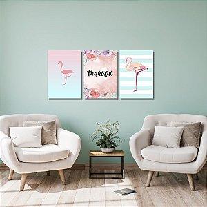 Kit Quadros Decorativos Decoração Flamingo Beautiful