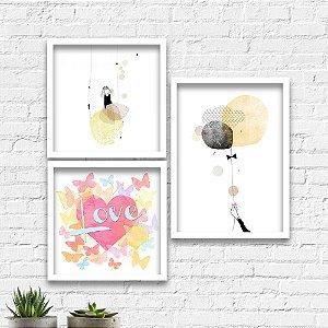 Kit Quadros Decorativos Decoração Menina Balão Love