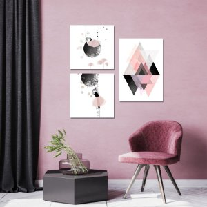 Kit Quadros Decorativos Decoração Menina Abstrato Lua