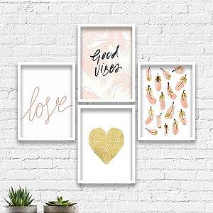 Kit Quadros Decorativos Decoração Coração Penas Love