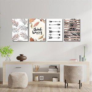 Kit Quadros Decorativos Decoração Folhas Flechas