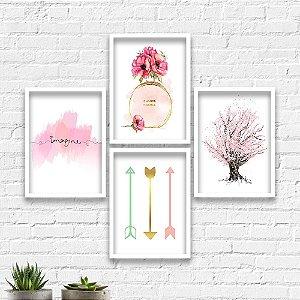 Kit Quadros Decorativos Decoração Perfume Árvore Flechas
