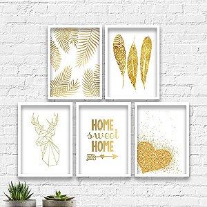 Kit Quadros Decorativos Decoração Dourado