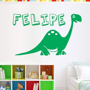 Adesivos de Parede Dinossauro Nome Personalizado