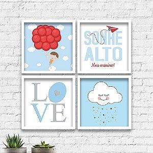 Kit Quadros Decorativos Decoração Infantil Menino Nuvem Love