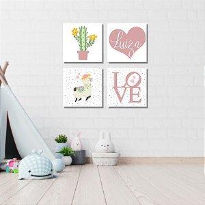 Kit Quadros Decorativos Decoração Infantil Lhama Cacto Love