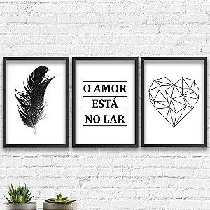 Kit Quadros Decorativos Decoração Coração Pena Frase
