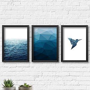 Kit Quadros Decorativos Decoração Mar Abstrato Passarinho