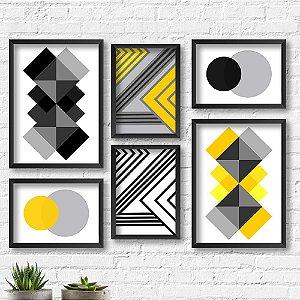 Kit Quadros Decorativos Decoração Abstrato Amarelo Preto e Branco