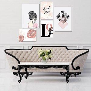 Kit Quadros Decorativos Decoração Menina Love Folhas